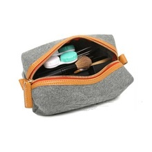Wool Felt with Genuine Leather Cosmetic bag
